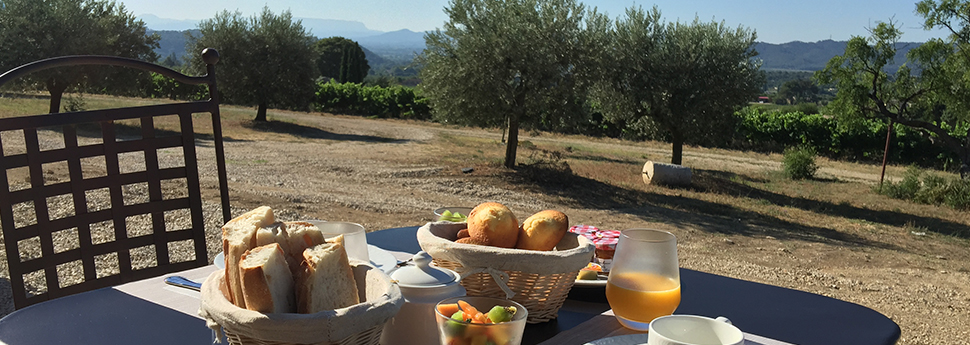 The breakfast served on the terrace